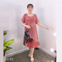 Đầm Hồng Ruốc Free Size Silk Lụa In Hoa 3D Họa Tiết giá sỉ