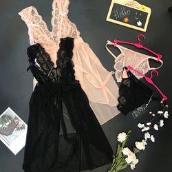 Váy ngủ sexy chất voan quảng châu xẻ trước mềm mịn giá sỉ