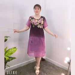 Đầm Tím Free Size Silk Lụa In Hoa 3D Họa Tiết giá sỉ