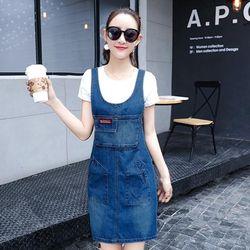 Đầm Jean Yếm Cách Điệu Phối Túi giá sỉ