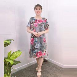 Đầm Xám Free Size Silk Lụa In Hoa 3D Họa Tiết giá sỉ