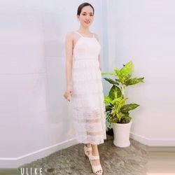 Đầm trắng maxi ren tầngcao cấp giá sỉ