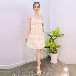Đầm kem ren dự tiệc 2 tầng chân ren giá sỉ