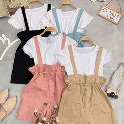Set jumpsuit yếm áo thun 3613 giá sỉ