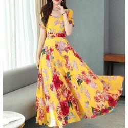 Đầm voal hoa dáng dài pi