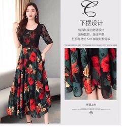 Đầm lụa hoa phối ren giá sỉ