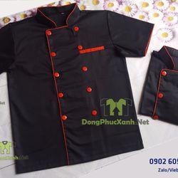 Áo bếp màu đen áo đầu bếp tay ngắn giá sỉ