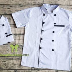 Áo đầu bếp màu trắng Đồng phục đầu bếp giá sỉ