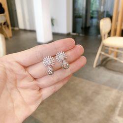 Bông tai xi bạch kim cao cấp AB27121 giá sỉ