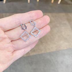 Bông tai xi bạch kim cao cấp AB0128 giá sỉ