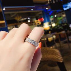 Nhẫn titan đính đá 3 vòng full nhẫn size 78AN4156 giá sỉ