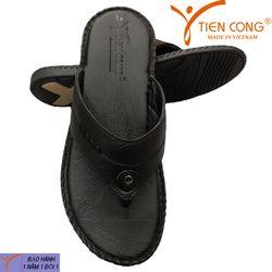Dép Nam Xỏ Ngón Da Bò Tien Cong Màu Đen - TCF1013 giá sỉ