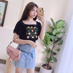 Set Chân Váy Jean Áo Thêu Hoa Cánh Tiên giá sỉ