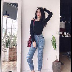Quần jean nữ rách kiểu y như hình chuyên sỉ jean 2KJean giá sỉ