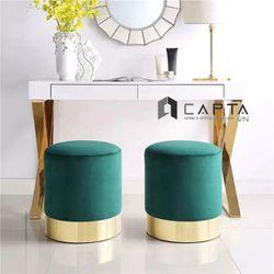 Ghế đôn bọc vải đế chân thép mạ vàng cho phòng khách giá rẻ giá sỉ