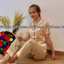 Đồ Bộ Pijama Lụa Satin Quần Dài Chuột giá sỉ