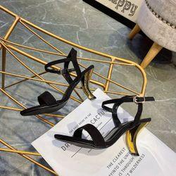 Giày sandal gót vàng giá sỉ