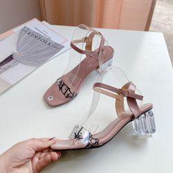 Giày sandal gót thủy tinh cao 5f giá sỉ