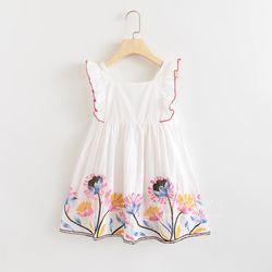 Váy công chúa thêu hoa hai lớp trắng giá sỉ