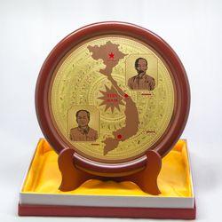 Quà Tặng - Đĩa để bàn Mặt trống đồng có bản đồ giá sỉ