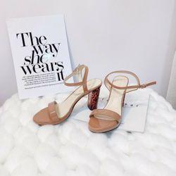 Giày sandal bản bóng gót beo siêu sang