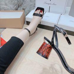 Giày sandanl bảng bóng gót béo cao 5 f siêu sang D 2 màu y hình giá sỉ