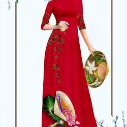 Áo dài truyền thống họa tiết nón lá áo kèm quần giá sỉ