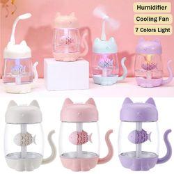 Máy phun sương đa năng hình mèo kèm quạt đèn USB giá sỉ