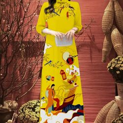 Áo dài truyền thống họa tiết bắt mắt áo kèm quần giá sỉ