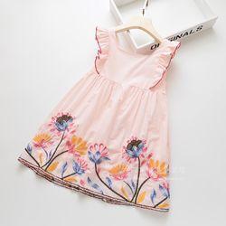 Váy công chúa cánh tiên thêu hoa hai lớp hồng giá sỉ
