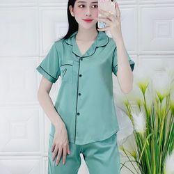 Bộ pijama lụa satin Quần lửng mẫu mới lạ giá sỉ