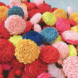 Đầu bông hoa hồng xoắn giấy nhún ý handmade giá sỉ