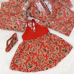 Đầm bé gái Yếm hoạ tiết hoa sò đỏ giá sỉ