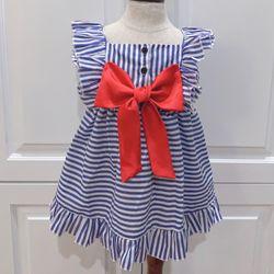 Đầm TRẻ em xanh sọc trắng nơ đỏ giá sỉ