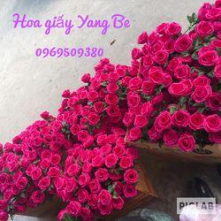 Đầu bông hoa hồng cánh giấy nhún ý handmade giá sỉ