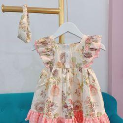 Đầm bé gái hoa 3D 2 bèo vai giá sỉ