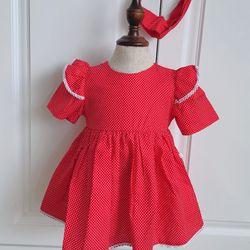 Váy trẻ em đỏ cam chấm bi ren vai giá sỉ