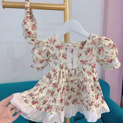 Đầm trẻ em hoa vintage bèo chân váy giá sỉ