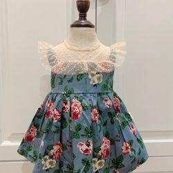 Đầm bé gái hoa Hồng xanh phối ren lụa mềm giá sỉ