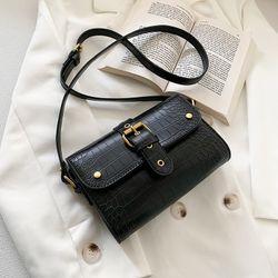 Túi đeo chéo vân da rắn phối khóa cài thời trang size 21cm VIDEO