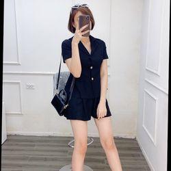 Bộ đồ mặc nhà chất liệu lụa màu đen và linen màu vàng Size SML Lưng phía sau có thun giá sỉ