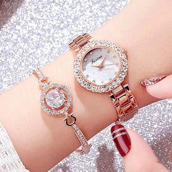 Đồng hồ thời trang nữ Faxi đính cườm kèm lắc