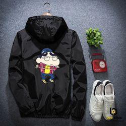 Áo khoác dù nam nữ in hình Shin 2 mặt giá sỉ
