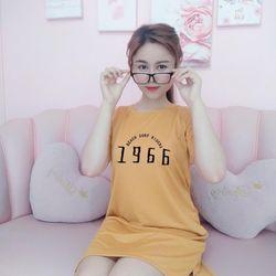 Đầm suông thun cotton fom rộng in số 1966