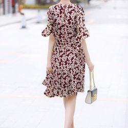 Đầm xòe hoa tay loe - MS0576D giá sỉ