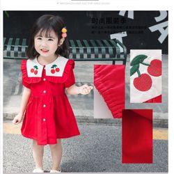 Váy kiểu hải quân cổ bẻ thêu quả cherry xinh xắn giá sỉ