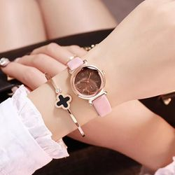 Đồng hồ thời trang nữ DZG mặt tròn dây da