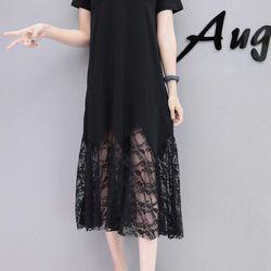 Đầm suôn midi phối ren - MS0573D giá sỉ