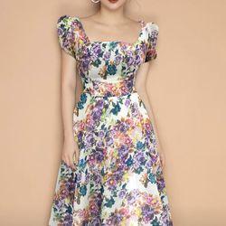 Đầm xòe hoa cổ vuông trẻ trung - MS0543D giá sỉ