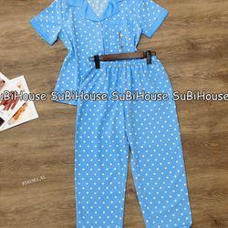 Đồ Bộ Pijama Lụa Hàn Quần Dài Chấm Bi giá sỉ
